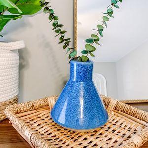 Vintage Boho Small Blue Ceramic Vase